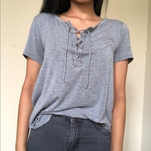 cute loose fit tie front grey top